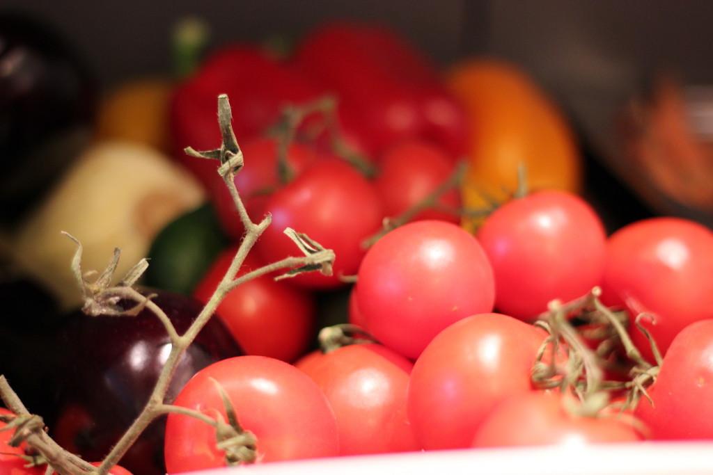 Frisches Gemüse bei Cookionista. Die wunderbaren Gerichte des Vorabends lagen noch in der Luft.